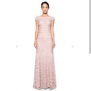 Tadashi Shoji Embroidered Lace CAP SLEEVE GOWN